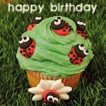 Cute Happy Birthday Cup Cake Card