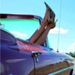 Heels Up In Car Card